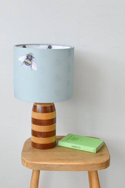 green bee print lampshade with bee pattern lining