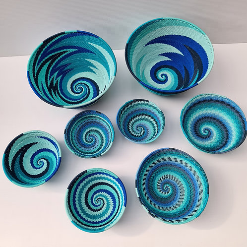 Telephone wire bowl - Blue small