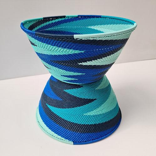 Telephone wire bowl -Blue half cone