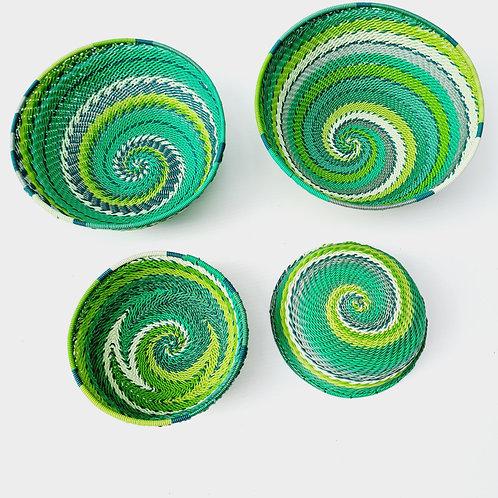 Telephone wire bowl - Greens medium