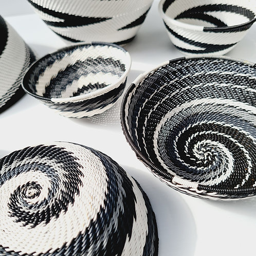 Telephone wire bowl - Black & White medium