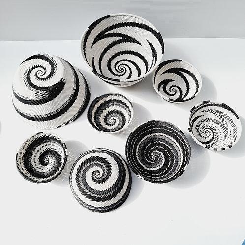 Telephone wire bowl - Black & White small