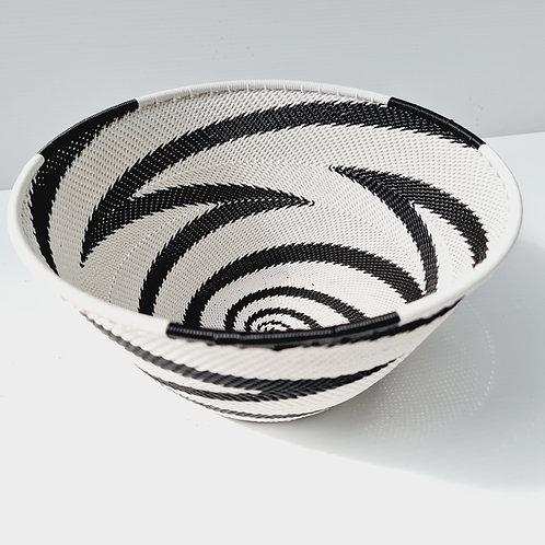 Telephone wire bowl - Black & White half cone