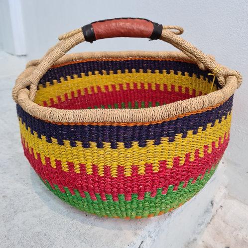 African Round Basket - bright