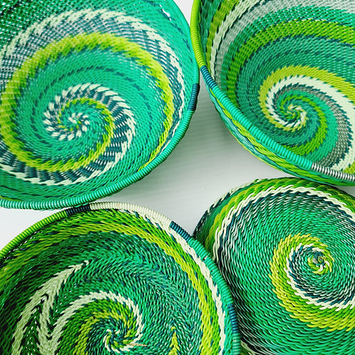 Telephone wire bowl - Greens large