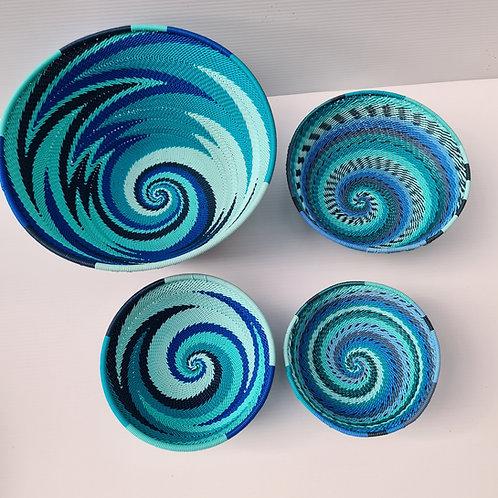 Telephone wire bowl - blue medium