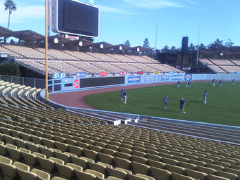SportsVenuePadding.com | Los Angeles Dodgers | Outfield Wall Pads | Baseball | Softball | Stadium | Facility Protective Padding | Post pads | Rail pads | MLB