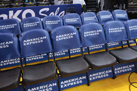 SportsVenuePadding.com   Golden State Warriors   basketball court   Padded announcers booth   Post padding   Custom seat covers   pads & mats