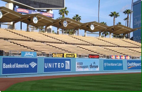 SportsVenuePadding.com | Los Angeles Dodgers | Outfield Pads | Baseball | Softball | Stadium | Facility Protective Padding | Post pads | Rail pads | MLB