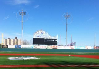 SportsVenuePadding.com | Brooklyn Cyclones | Outfield Wall Pads | Baseball | Softball | Stadium | Facility Protective Padding | Post pads | Rail pads | MLB