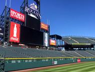 SportsVenuePadding.com   Colorado Rockies   Outfield Pads   Baseball   Softball   Stadium   Facility Protective Padding   Post pads   Rail pads   MLB