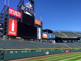 SportsVenuePadding.com | Colorado Rockies | Outfield Pads | Baseball | Softball | Stadium | Facility Protective Padding | Post pads | Rail pads | MLB