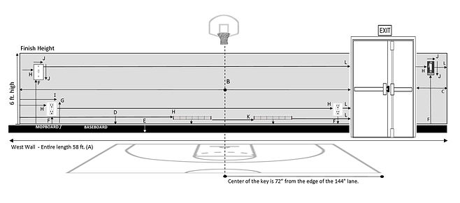 Basketball Wall Pad - Measurement diagra
