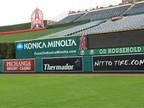 SportsVenuePadding.com   Los Angeles Angels Outfield Pads   Baseball   Softball   Stadium   Facility Protective Padding   Post pads   Rail pads   Dugout   Bullpen   Backstop   MLB