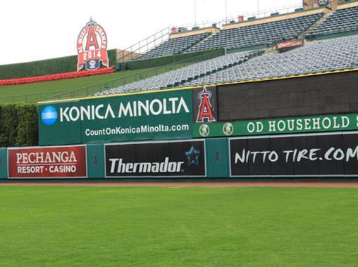 SportsVenuePadding.com | Los Angeles Angels Outfield Pads | Baseball | Softball | Stadium | Facility Protective Padding | Post pads | Rail pads | Dugout | Bullpen | Backstop | MLB