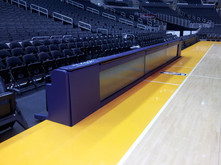 SportsVenuePadding.com | Lakers basketball court | Padded announcers booth | Post padding | Custom pads & mats