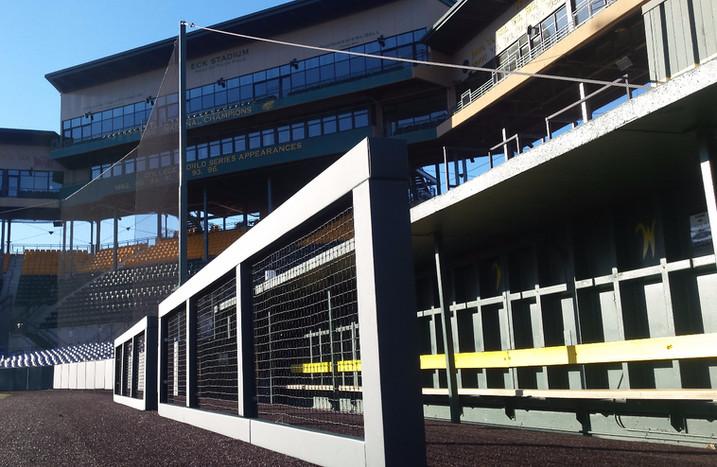 SportsVenuePadding.com | WSU Baseball outfield padding | Field Pads | Stadium printed padding