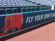 SportsVenuePadding.com | LA Angels | Field Pads | Rail Pads | Dugout | Baseball | Softball | Stadium | Facility Padding | Graphic Printing | MLB