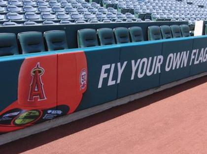 SportsVenuePadding.com | LA Angels | Field Pads | Rail Pads | Dugout | Baseball | Softball | Stadium | Facility Padding | Graphic Printing | MLB