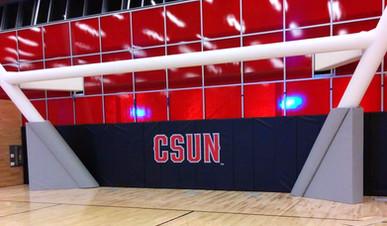 SportsVenuePadding.com   Cal State Northridge   basketball court   CSUN   Post pads and wall padding   Custom pads & mats