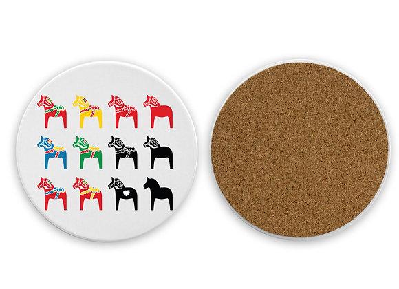 Multi-Dala Sandstone Coaster with cork back-White