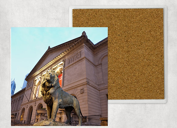 Art Institute Lion Sandstone Coaster with cork back