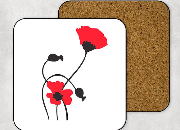 Red Poppies Coaster-Hardboard