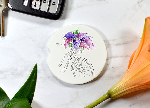 Bicycle with Lilacs Car Coaster