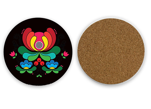 Red Folk Flower Sandstone Coaster with cork back-Black