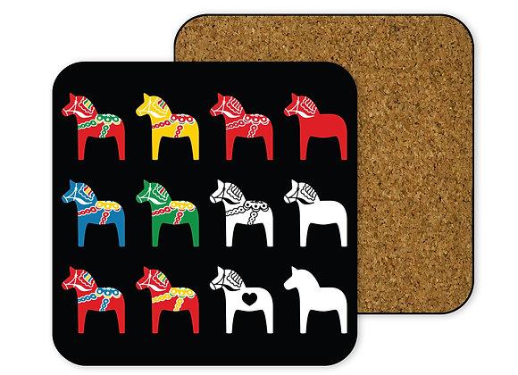 Black Multi-Dala Horse Coaster-Hardboard