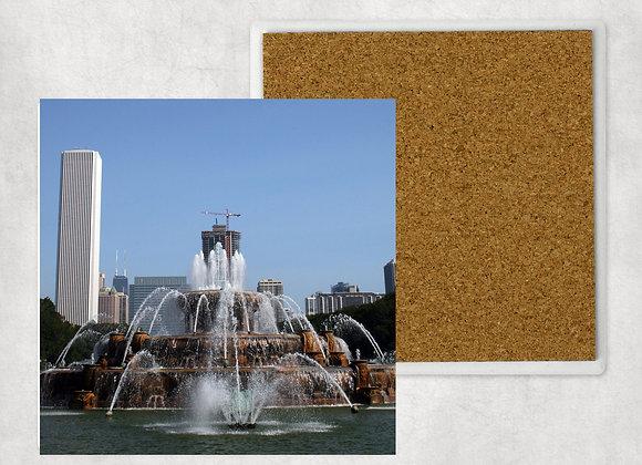 Buckingham Fountain Sandstone Coaster with cork back