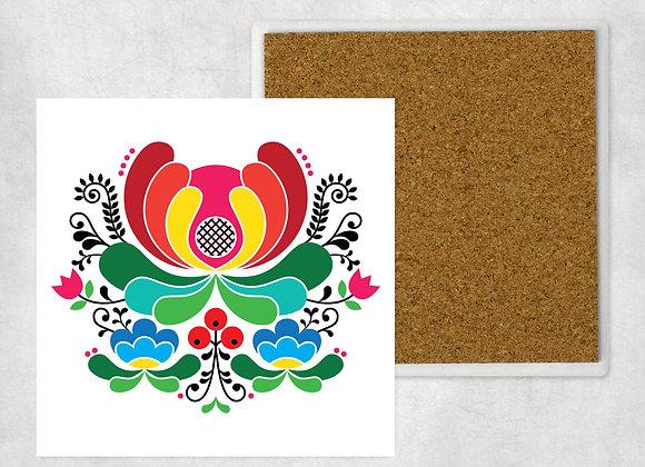 White Red Folk Flower Sandstone Coaster with cork back