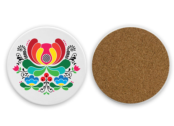Red Folk Flower Sandstone Coaster with cork back-White
