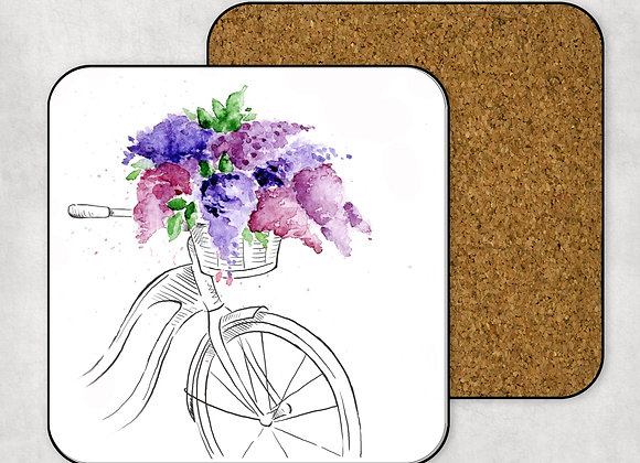 Bicycle with Lilacs Coaster-Hardboard