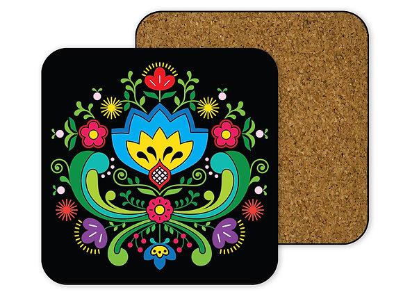 Blue Flower Folk Art Coaster-Hardboard (Black)