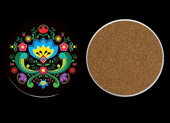 Blue Folk Flower Sandstone Coaster with cork back-Black