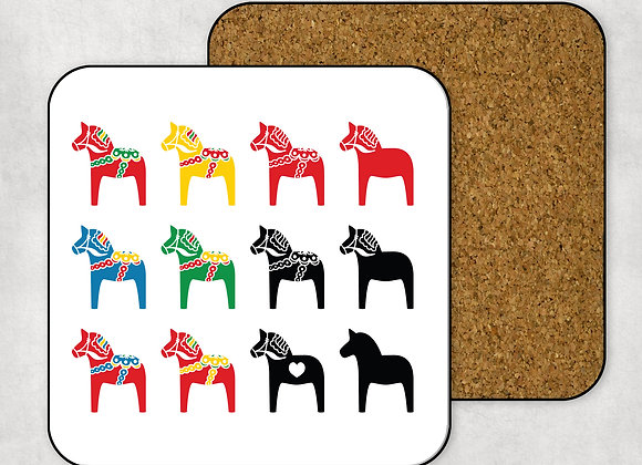 Swedish Multi-Dala Horse Coaster-Hardboard