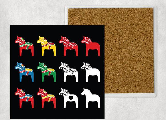 Multi Dala Horse Sandstone Coaster with cork back
