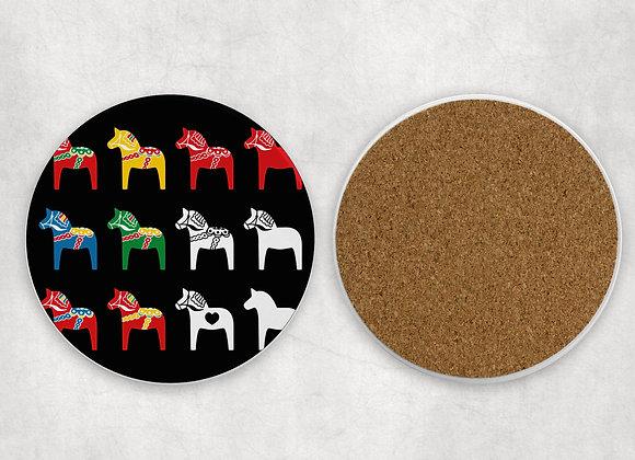 Multi Dala Sandstone Coaster with cork back-Black