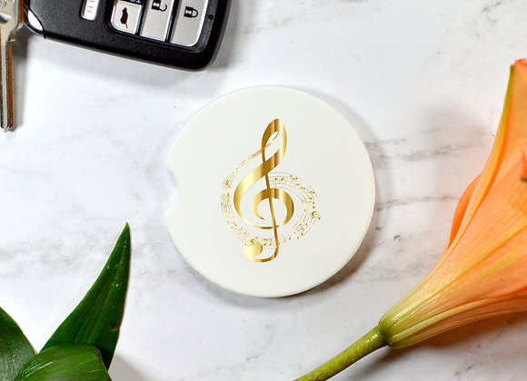 Gold Cleft Music Car Coaster