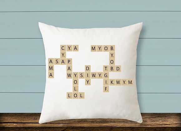 Scrabble Text Pillow