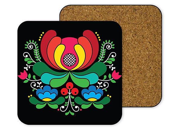 Folk Art Red Flower Coaster-Hardboard (Black)