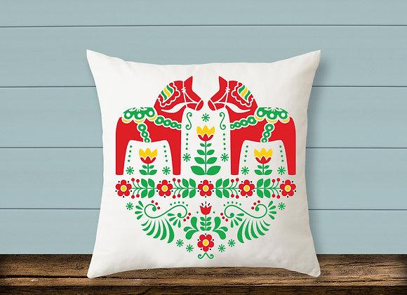 Swedish Dala Horse Pillow
