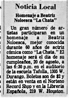 """Homenaje a Beatriz Noloesca ""La Chata,"" August 20, 1975"