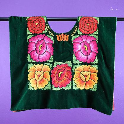 Green Velvet w/ Embroidered Flowers