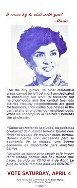 María Antonietta Berriozábal  campaign for City Council District 1, 1981. She served that district for five terms from 1981-1991.
