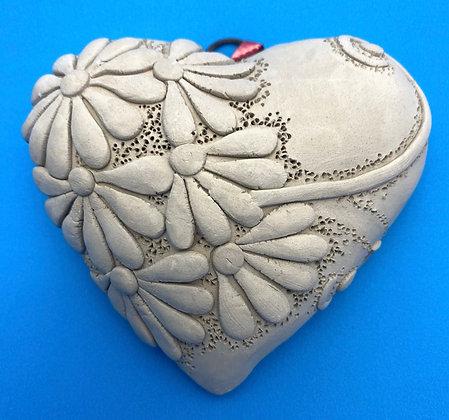 Grey Hanging Clay Heart