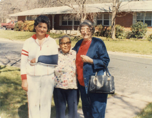 Manuela Solís Sager in 1986, with union organizers Rebecca Flores [Harrington] (Texas Farmworkers), and Latane Lambert (1930s pecan shellers strikes and Texas Civil Liberties Union)