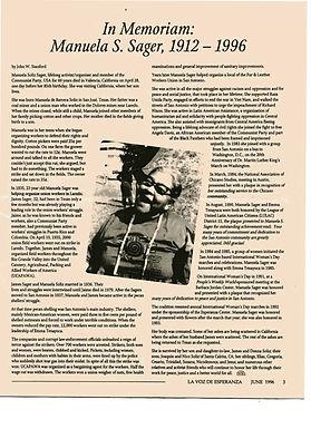 "Manuela Solís Sager remembrance, written by John ""Juancho"" Stanford, in La Voz de Esperanza, June 1996"