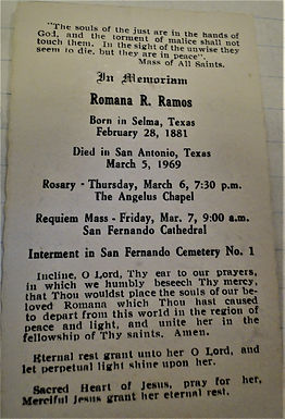 Memorial card for Romana Ramos, San Fernando Cathedral funeral service, March 7, 1969